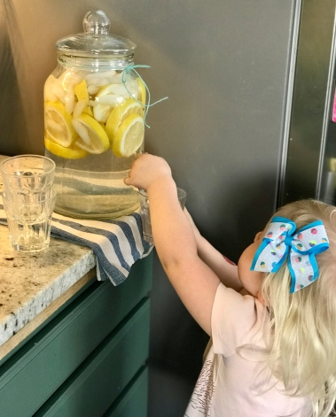 Peach getting herself some fresh lemon water